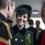 The Duke and Duchess of Cambridge talk with soldiers of the 1st Battalion Irish Guards following their St Patricks Day Parade