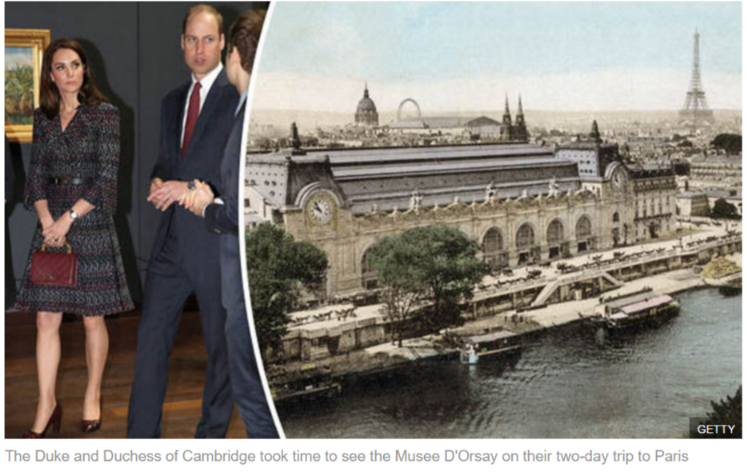 The Duke and Duchess of Cambridge took time to see the Musee D'Orsay on their two-day trip to Paris