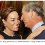 The Prince of Wales being greeted by Tara Palmer Tomkinson during a reception at Clarence House in 2003