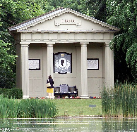 The memorial to Princess Diana close to the tomb where she is buried on an island at the Althorp Estate in Northamptonshire