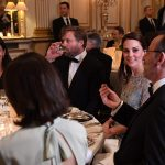 The pair finished the evening at the Ambassadors residence where Kate dazzled in an ice blue Jenny Packham dress