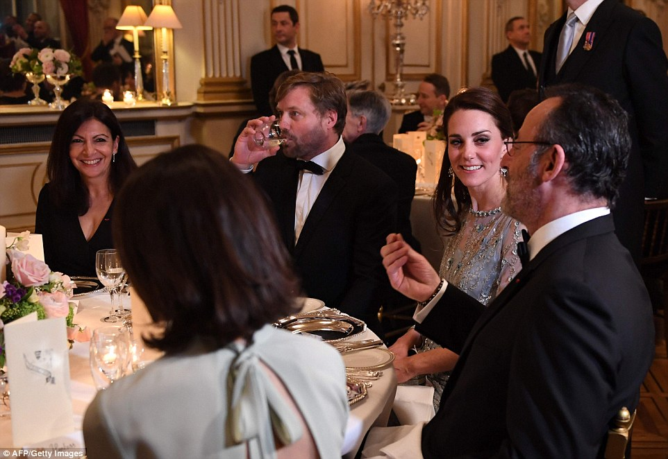 The pair finished the evening at the Ambassador's residence where Kate dazzled in an ice-blue Jenny Packham dress