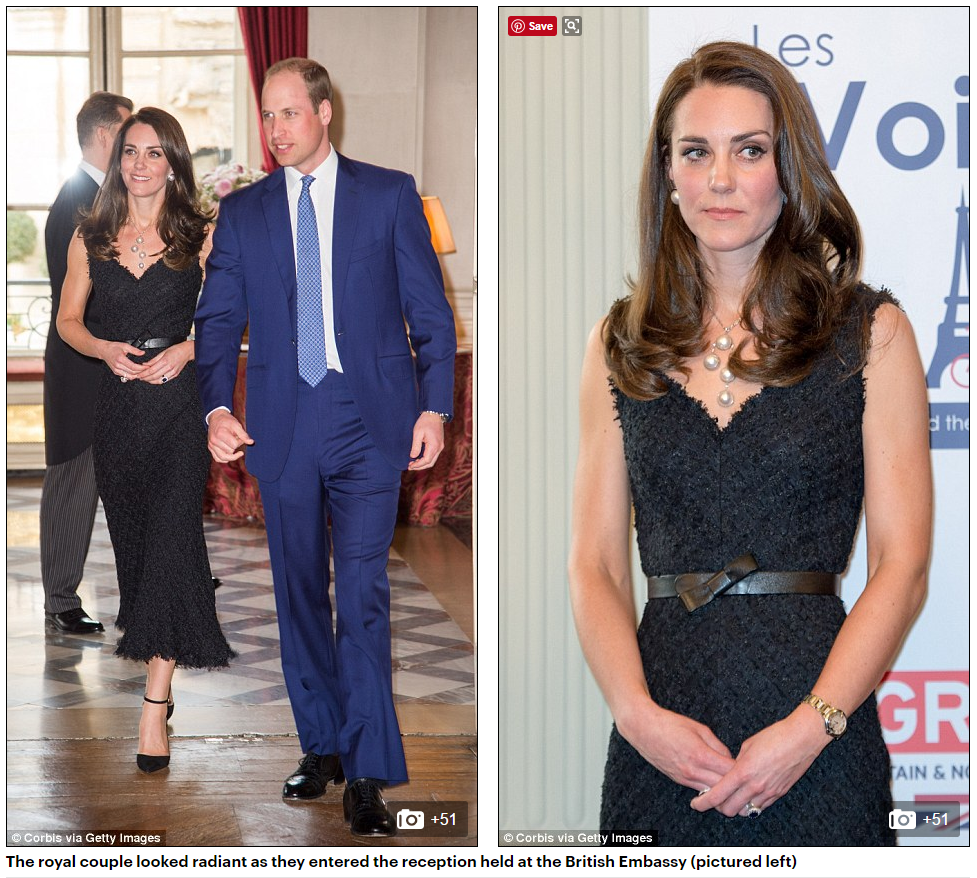 The royal couple looked radiant as they entered the reception held at the British Embassy (pictured left)