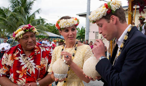 The royals visited the South Pacific island nation of nine tiny islands in 2012 Photo (C) GETTY