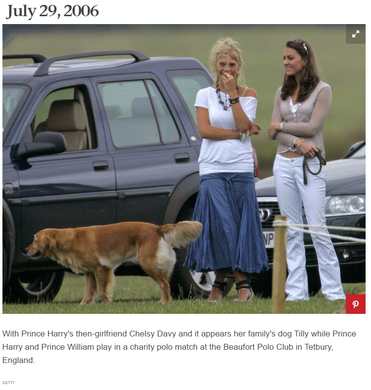 With Prince Harry's then-girlfriend Chelsy Davy and it appears her family's dog Tilly