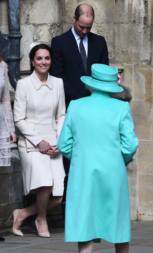 Catherine Duchess of Cambridge and Prince William attending Easter Church Service Photo (C) EPA