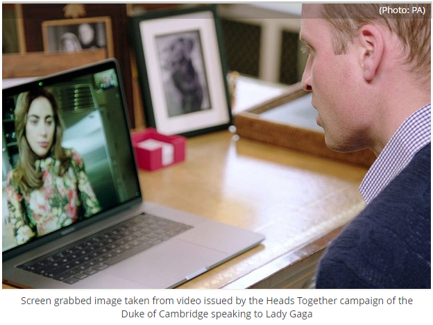 1 Screen grabbed image taken from video issued by the Heads Together campaign of the Duke of Cambridge speaking to Lady Gaga