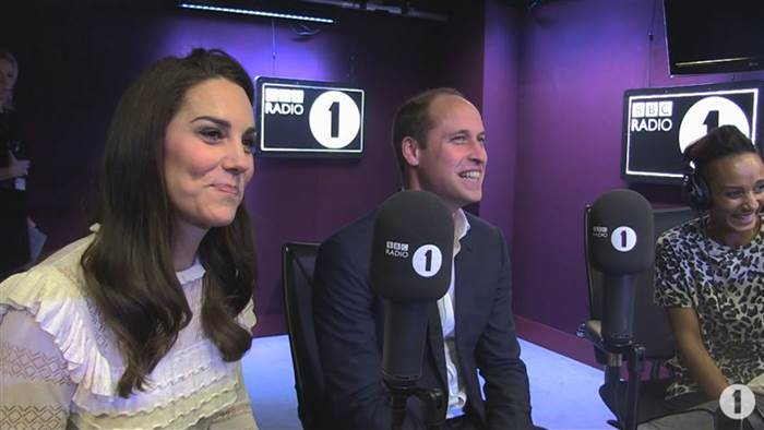 2 William and Kate joined DJs Scott Mills and Adele Roberts at Radio 1 Photo C GETTY IMAGES