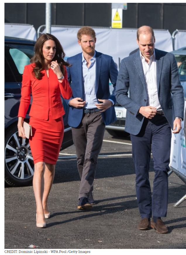 3 Prince William Kate Middleton wearing Armani and Prince Harry attended the official opening of The Global Academy