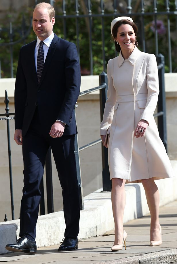 Catherine Duchess of Cambridge and Prince William attending Easter Church Service Photo (C) PA