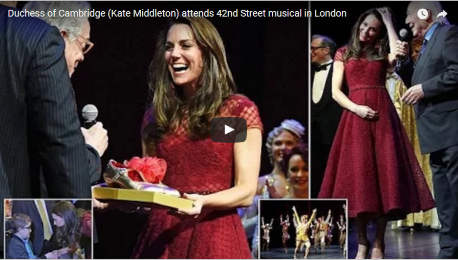 Duchess of Cambridge Kate Middleton attends 42nd Street musical in London