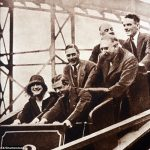 Edward VIII front right as Prince of Wales enjoys a fairground ride together with his sister in law Elizabeth later Queen and his brother Albert middle left later King George VI