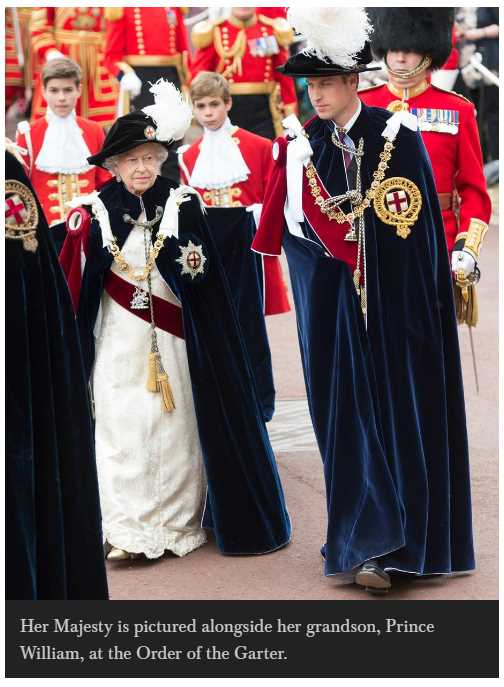 Her Majesty is pictured alongside her grandson Prince William at the Order of the Garter