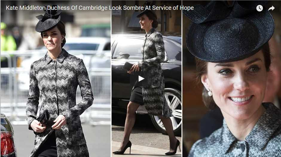 Kate Middleton Duchess Of Cambridge Look Sombre At Service of Hope