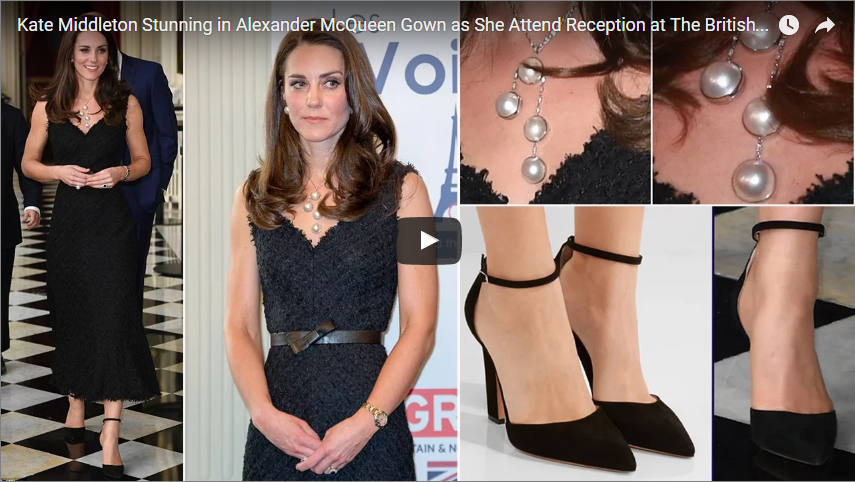 Kate Middleton Stunning in Alexander McQueen Gown as She Attend Reception at The British Embassy