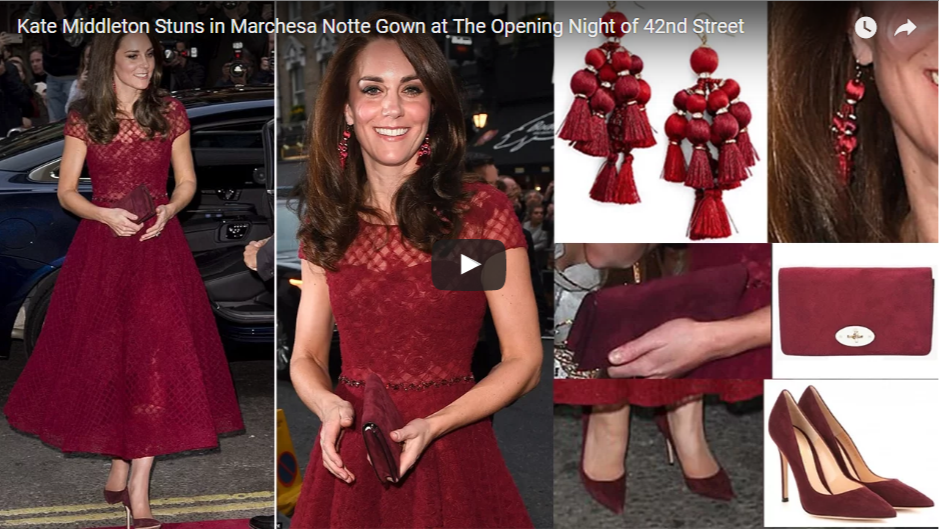 Kate Middleton Stuns in Marchesa Notte Gown at The Opening Night of 42nd Street