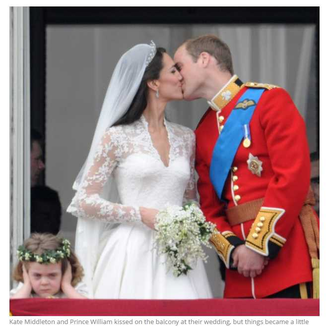 Kate Middleton and Prince William kissed on the balcony at their wedding but things became a little overwhelming for flower girl Grace Van Cutsem