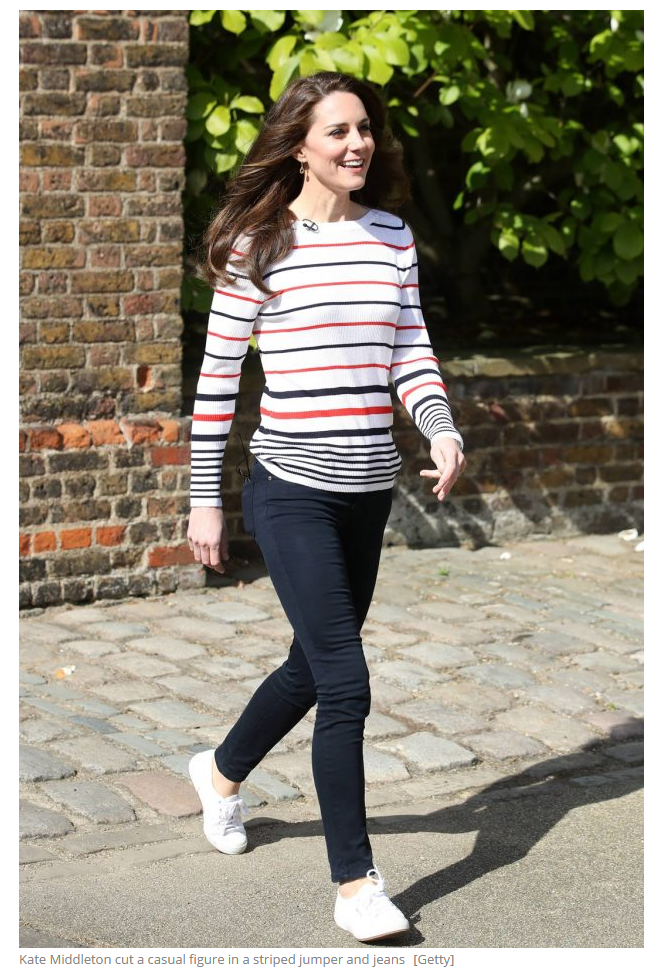 Kate Middleton cut a casual figure in a striped jumper and jeans [Getty]