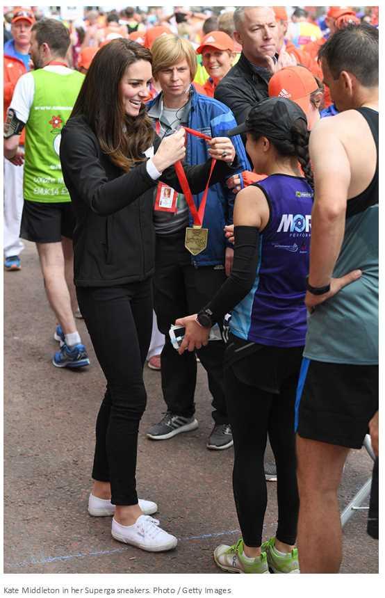 Kate Middleton in her Superga sneakers.