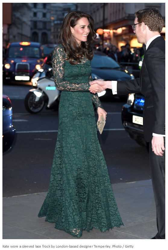Kate wore a sleeved lace frock by London based designer Temperley