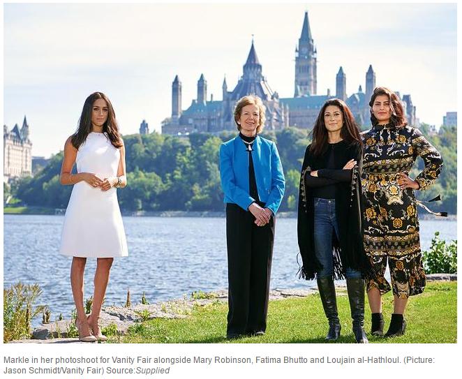 Markle in her photoshoot for Vanity Fair alongside Mary Robinson Fatima Bhutto and Loujain al Hathloul. Picture Jason Schmidt Vanity Fair Source Supplied