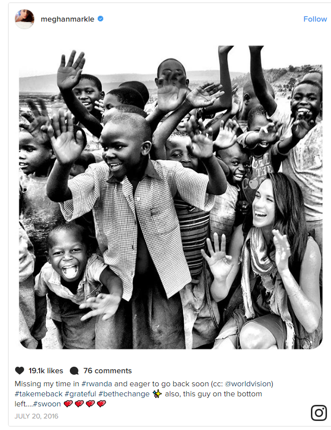 Meghan Markle Missing my time in #rwanda and eager to go back soon Photo (C) INSTAGRAM