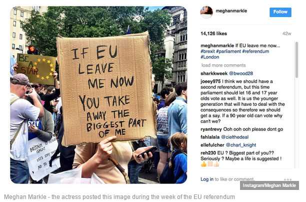 Meghan Markle - the actress posted this image during the week of the EU referendum Photo (C) INSTAGRAM