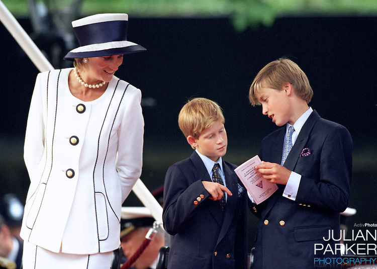 Diana, The Princess of Wales, Prince William, and Prince Harry attend The VJ Day 50TH Anniversary Celebrations in London