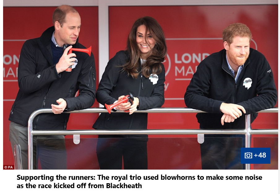 Prince William, Catherine Duchess of Cambridge and Prince Harry all started the race together by pushing the red button