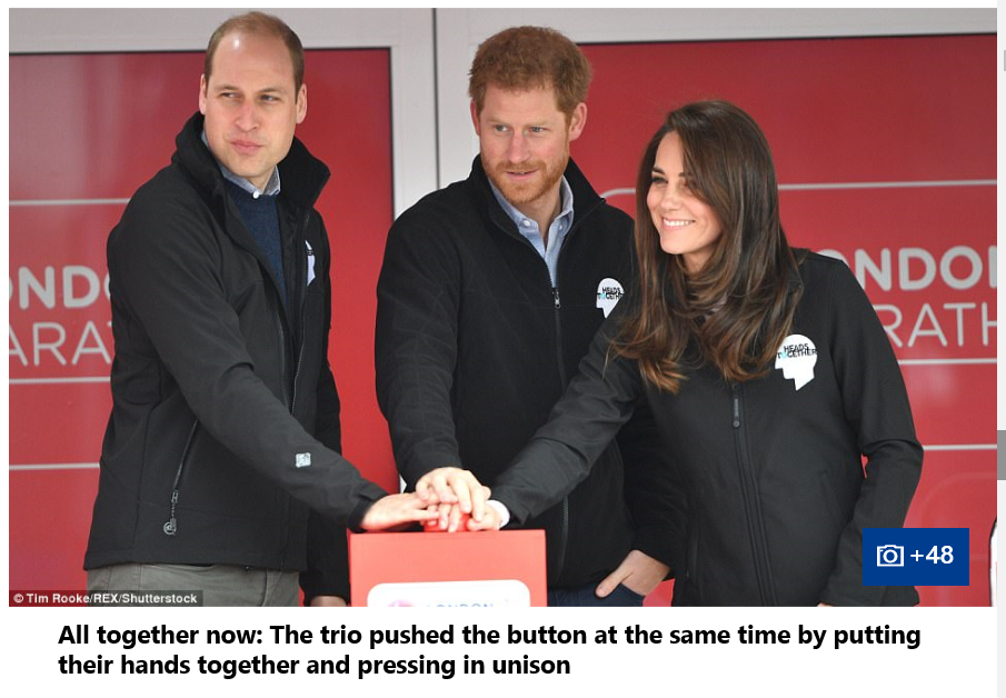 Prince William Catherine Duchess of Cambridge and Prince Harry all started the race together by pushing the red button 0021