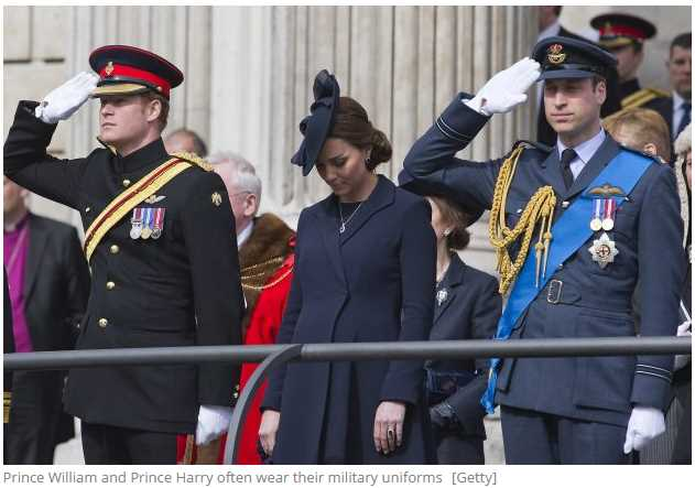 Prince William and Prince Harry's military uniform