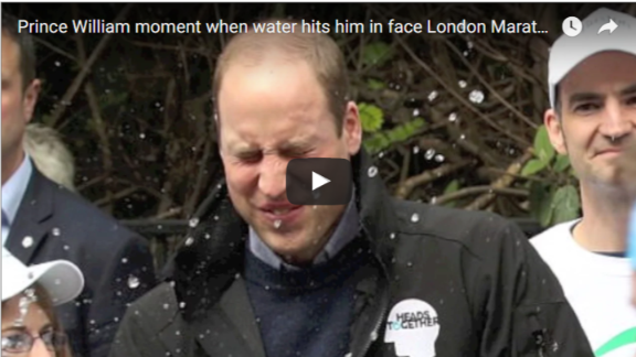 Prince William moment when water hits him in face London Marathon 2017