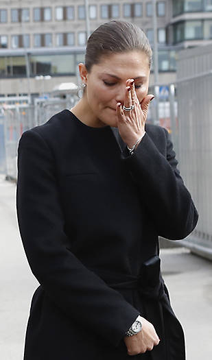 Princess Victoria of Sweden in tears at the attack site in Stockholm Photo (C) GETTY IMAGES