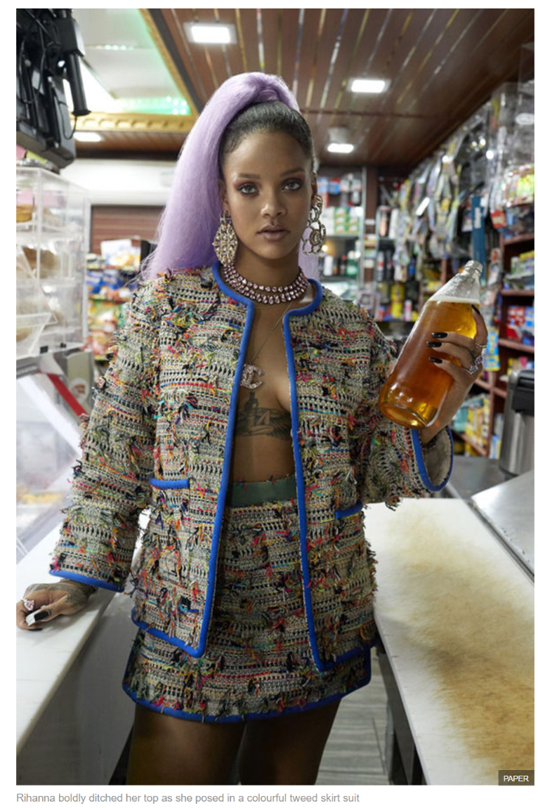 Rihanna boldly ditched her top as she posed in a colourful tweed skirt suit
