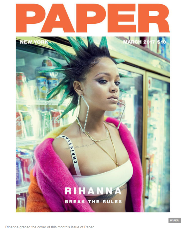 Rihanna graced the cover of this month's issue of Paper