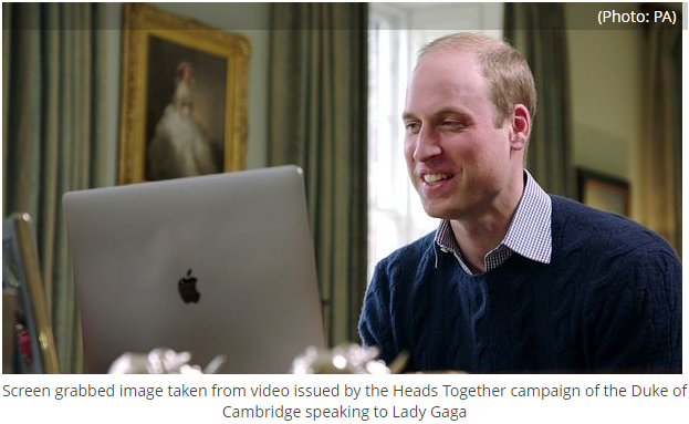 Screen grabbed image taken from video issued by the Heads Together campaign of the Duke of Cambridge sScreen grabbed image taken from video issued by the Heads Together campaign of the Duke of Cambridge speaking to Lady Gagapeaking to Lady Gaga