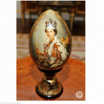 She owns several elaborate historical Fabergé eggs including one with a portrait of her younger self painted on it