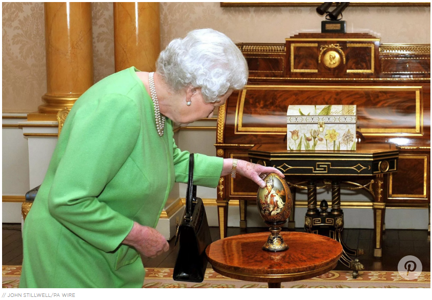 She owns several elaborate historical Fabergé eggs including one with a portrait of her younger self painted on it.