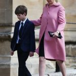 The Countess of Wessex and James Viscount Severn arrive to attend the Easter Sunday service at St Georges Chapel Photo C PA
