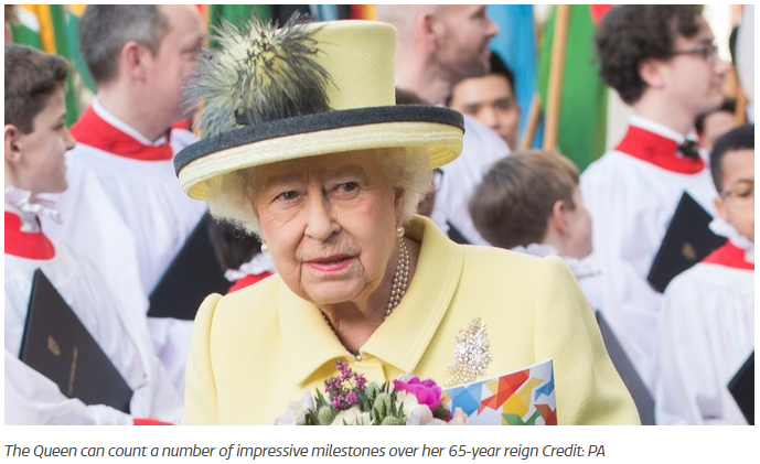 The Queen can count a number of impressive milestones over her 65 year reign Credit