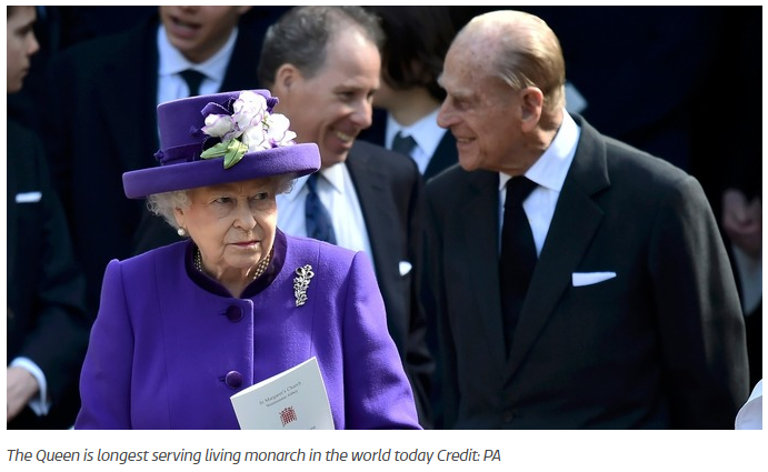 The Queen is longest serving living monarch in the world today Credit