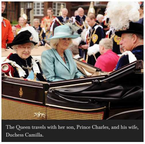 The Queen travels with her son, Prince Charles, and his wife, Duchess Camilla Photo (C) GETTY IMAGES