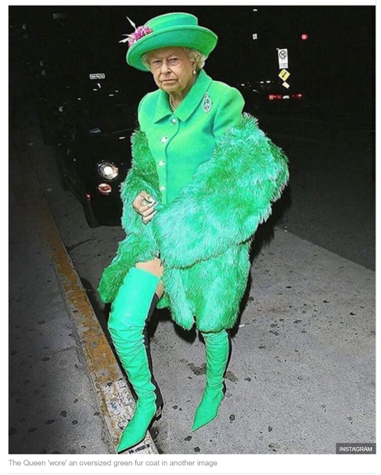 The Queen 'wore' an oversized green fur coat in another image
