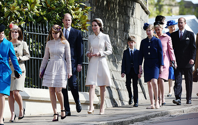 The Royal Family attend the Easter Sunday service in Windsor Photo (C) GETTY IMAGES