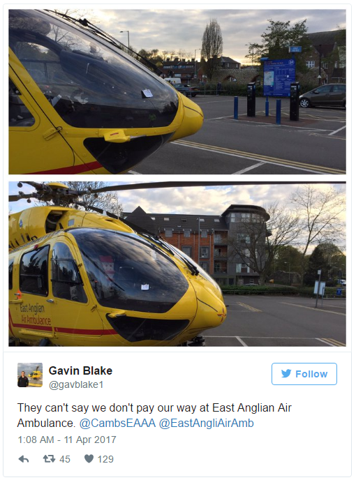 They can't say we don't pay our way at East Anglian Air Ambulance Photo (C) TWITTER