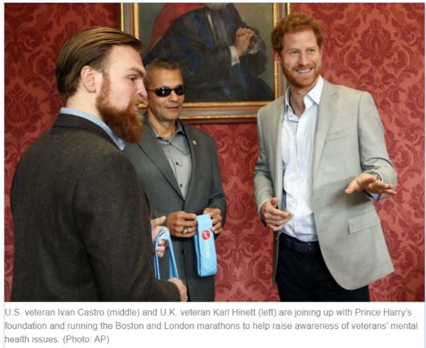 U.S. veteran Ivan Castro middle and U.K. veteran Karl Hinett left are joining up with Prince Harry's foundation