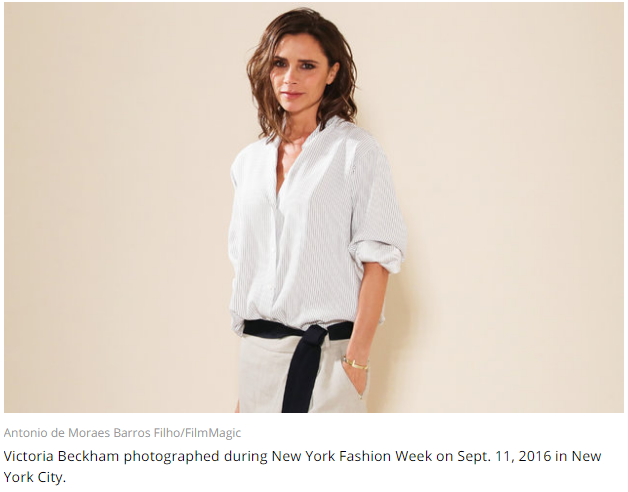 Victoria Beckham photographed during New York Fashion Week on Sept. 11, 2016 in New York City.