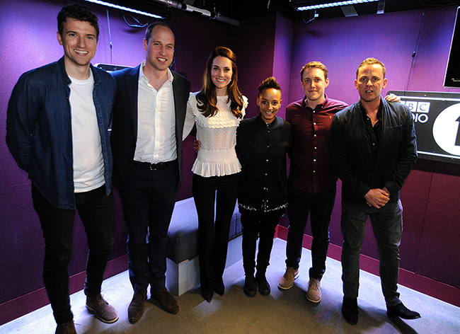 William and Kate joined DJs Scott Mills and Adele Roberts at Radio 1 Photo C GETTY IMAGES