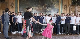 Princess Estelle and Prince Oscar steal the show while meeting Swedish National Ice Hockey team. Photo (C) REX