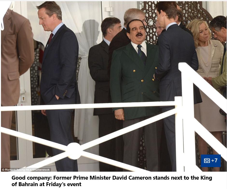 Queen Elizabeth II, Prince Andrew and King of Bahrain Hamad bin Isa Al Khalifa